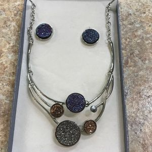 Druzy Necklace & Earrings Jewelry Set